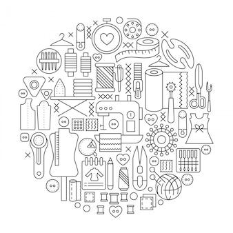 Emblema de linha de conceito de ferramentas de costura