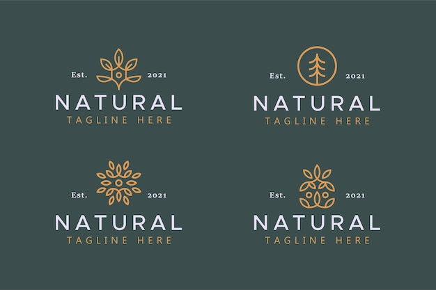 Emblema de logotipo abstrato de folha e árvore natural