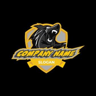 Emblema de logotipo amarelo de lobo