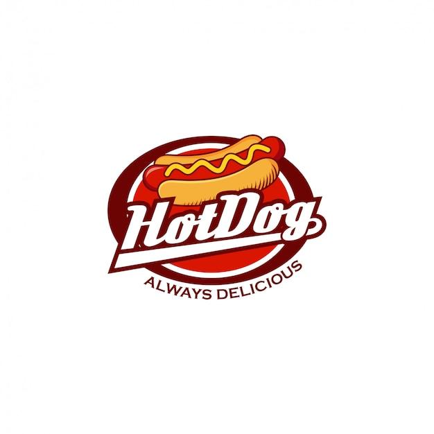 Emblema de logotipo de cachorro-quente