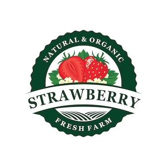 Emblema de logotipo de fazenda de morango