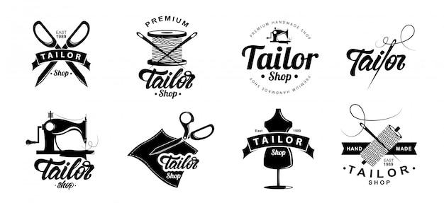 Emblema de logotipo de loja de alfaiate