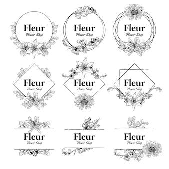 Emblema de logotipo de loja de flores