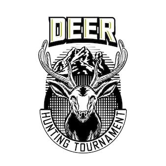 Emblema de logotipo de vetor de caça com veado