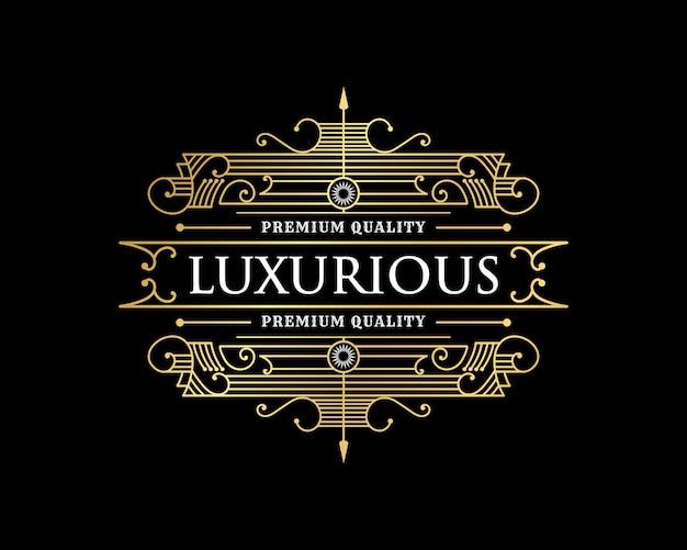 Emblema de logotipo vintage de luxo com moldura decorativa decorativa para barbearia restaurante café hotel