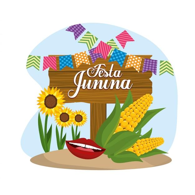 Emblema de madeira com espigas de milho e festa