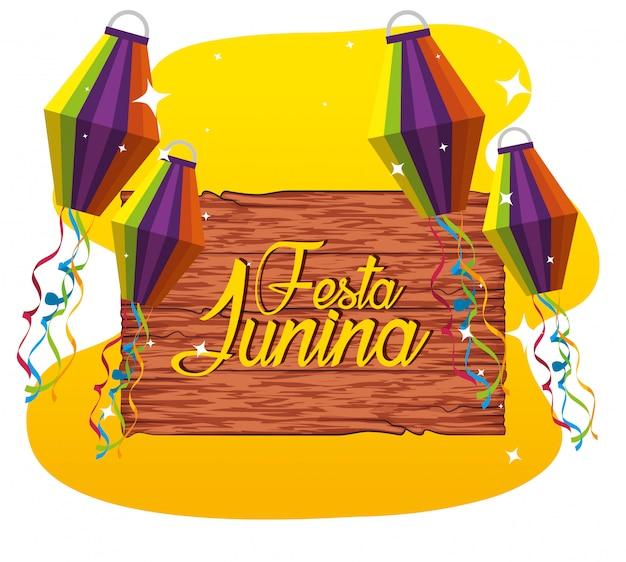 Emblema de madeira com lanternas para festa junina