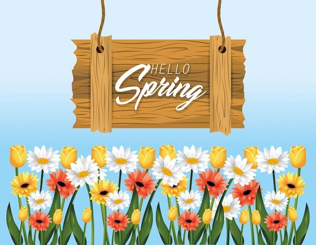 Emblema de madeira de primavera com plantas de rosas e flores