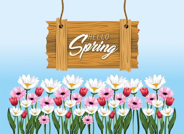 Emblema de madeira de primavera com rosas e flores