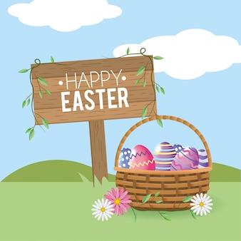 Emblema de madeira feliz páscoa com ovos de páscoa dentro da cesta
