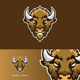Emblema de mascote de jogo bison esport