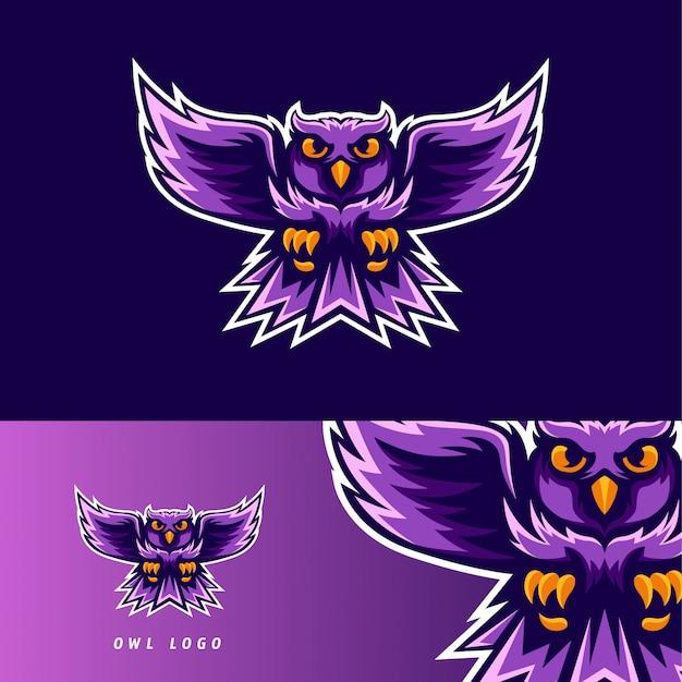 Emblema de mascote de jogo esport ave coruja