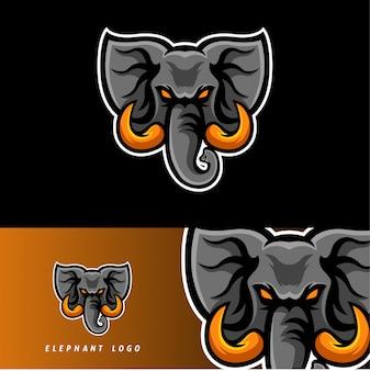 Emblema de mascote de jogo esport elefante