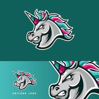 Emblema de mascote de jogo esport es cavalo unicorn