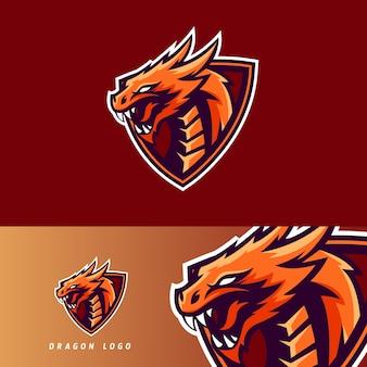 Emblema de mascote de jogo esportivo de dragão