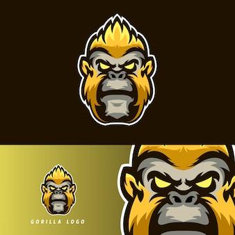 Emblema de mascote de jogos esportivos gorila