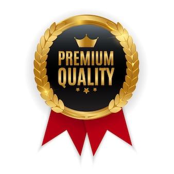 Emblema de medalha de ouro de qualidade premium. selo de etiqueta isolado