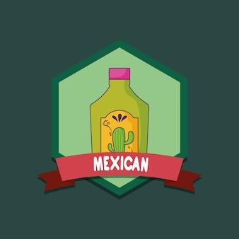 Emblema de méxico com a garrafa do tequila sobre o fundo verde, projeto colorido. ilustração vetorial