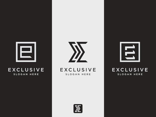 Emblema de modelo de conjunto de logotipo de letra e de estilo moderno