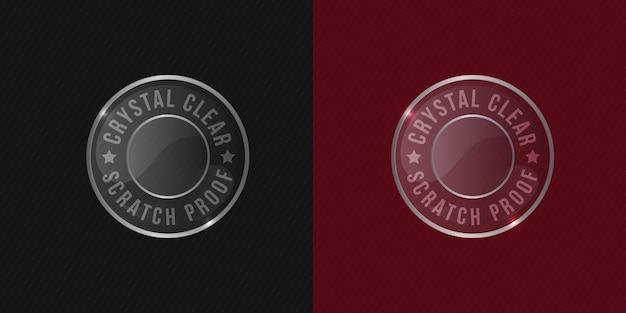 Emblema de moldura de círculo de vidro brilhante transparente brilhante para garantia cristalina e à prova de riscos e etiquetas de garantia