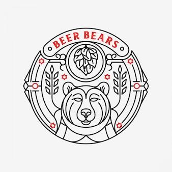 Emblema de monoline de ursos de cerveja