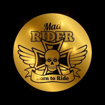 Emblema de motociclista de moto caveira