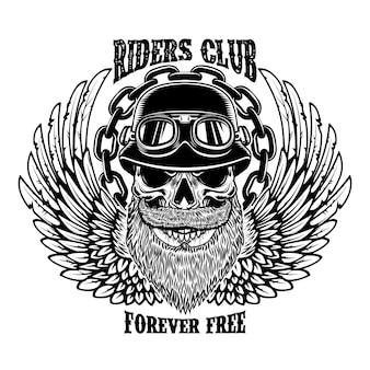 Emblema de motociclista vintage com crânio de piloto alado