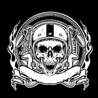 Emblema de motociclistas de caveira