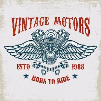 Emblema de motor alado vintage na textura grunge