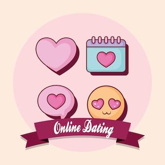 Emblema de namoro on-line com fita decorativa