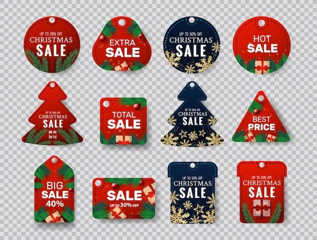 Emblema de natal com etiquetas de preços ou cupons
