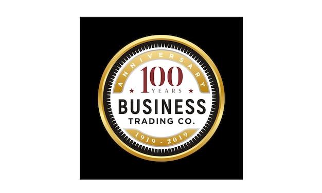 Emblema de ouro de aniversário 100 anos de negócios