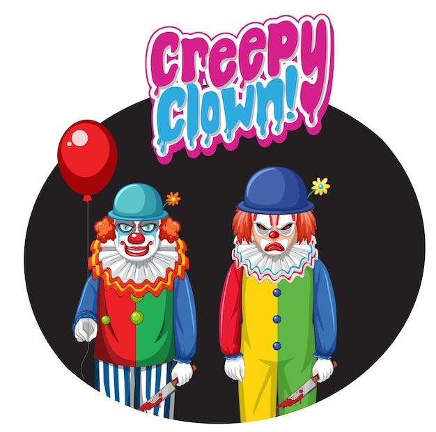 Emblema de palhaço assustador com dois palhaços assustadores