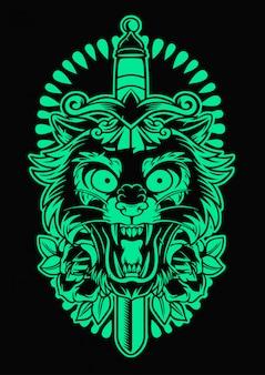 Emblema de pantera e faca