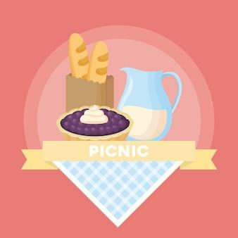 Emblema de piquenique com fita decorativa e saco de pães e comida sobre fundo rosa, desig colorido