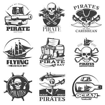 Emblema de piratas conjunto com espírito pirata voando descrições de aventuras de piratas da baía de pirata holandês