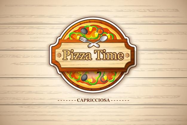 Emblema de pizza margherita colorida com ingredientes de queijo e tomate na ilustração de madeira