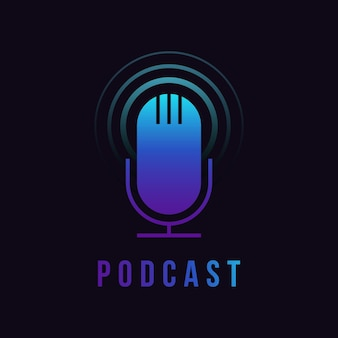 Emblema de podcast com gradiente azul