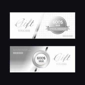 Emblema de prata de luxo e etiquetas, cartão de voucher