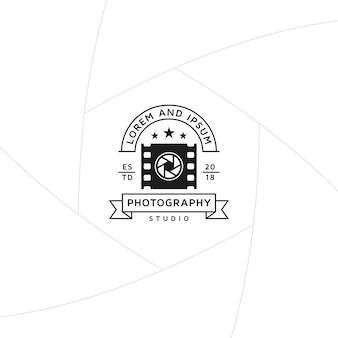 Emblema de produção de foto e vídeo ou design de rótulo