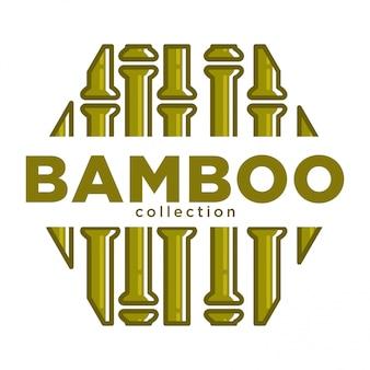 Emblema de promo coleção de bambu em forma de hexágono com sinal