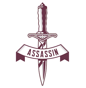 Emblema de punhal com fita em fundo branco. ilustração do vetor de tatuagem.