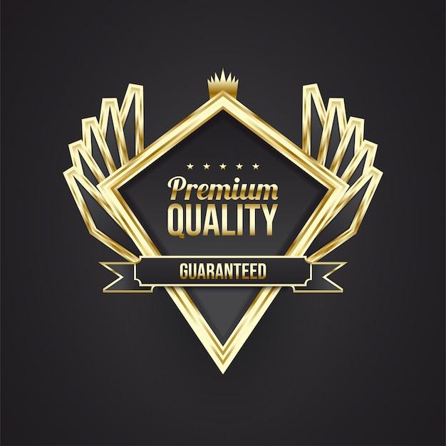 Emblema de qualidade premium com conceito preto e dourado e asas elegantes