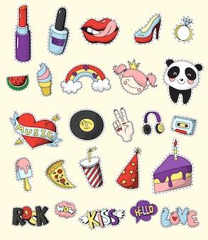 Emblema de remendo de moda colorida e isolada conjunto dos desenhos animados e estilo de quadrinhos dos anos 80-90