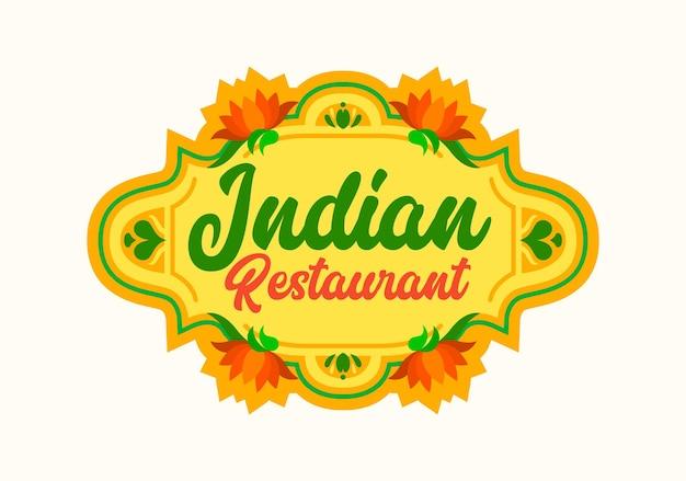 Emblema de restaurante indiano com flores de lótus desabrochando com pétalas de laranja e folhas verdes. food of india label para cafe menu design ou national cuisine festival ilustração vetorial isolada, ícone