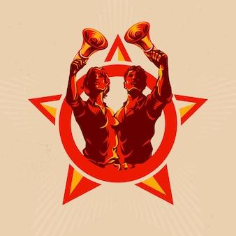 Emblema de revolução retrô
