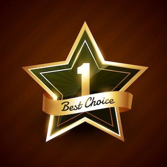 Emblema de rótulo dourado de melhor escolha nº 1