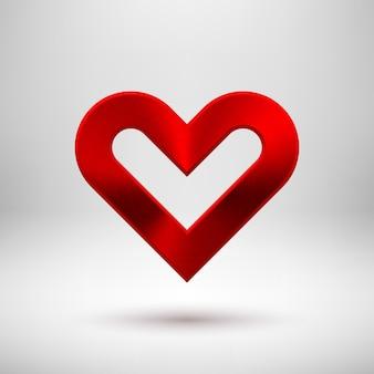 Emblema de sinal de coração abstrato vermelho