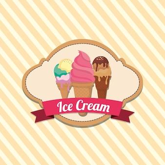 Emblema de sorvete com cones de sorvete sobre fundo amarelo listrado
