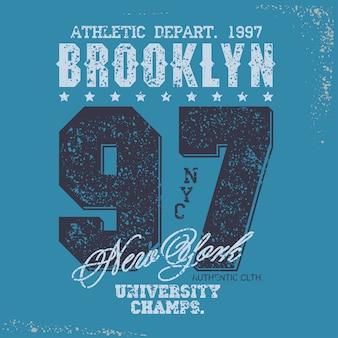 Emblema de tipografia de desgaste de esporte